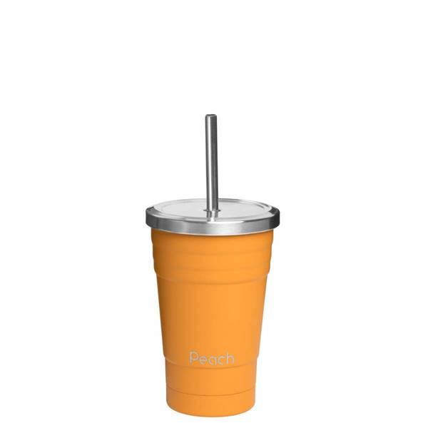 Bilde av 300 ml smoothiekopp med sugerør, Oransje / Peach