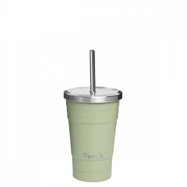 Bilde av 300 ml smoothiekopp med sugerør, Grønn / Peach