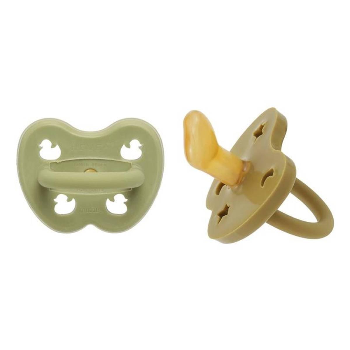 2-pk Ortodontisk smokk 3-36 mnd, Hunter Green&Olive / Hevea
