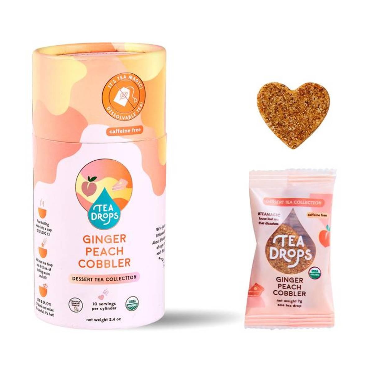 10 stk Ginger Peach Cobbler, økologisk te i tube / Tea Drops